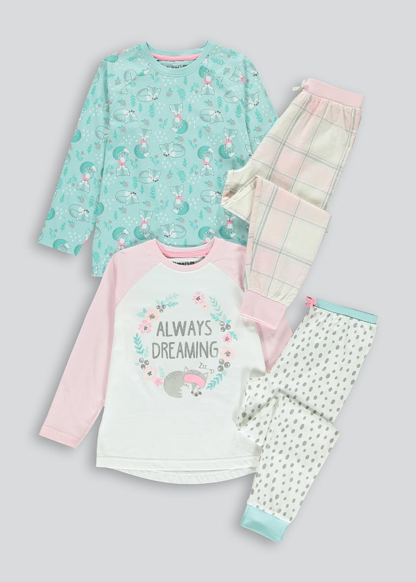 Girls 2 Pack Slogan Pyjama Set (4-13yrs)
