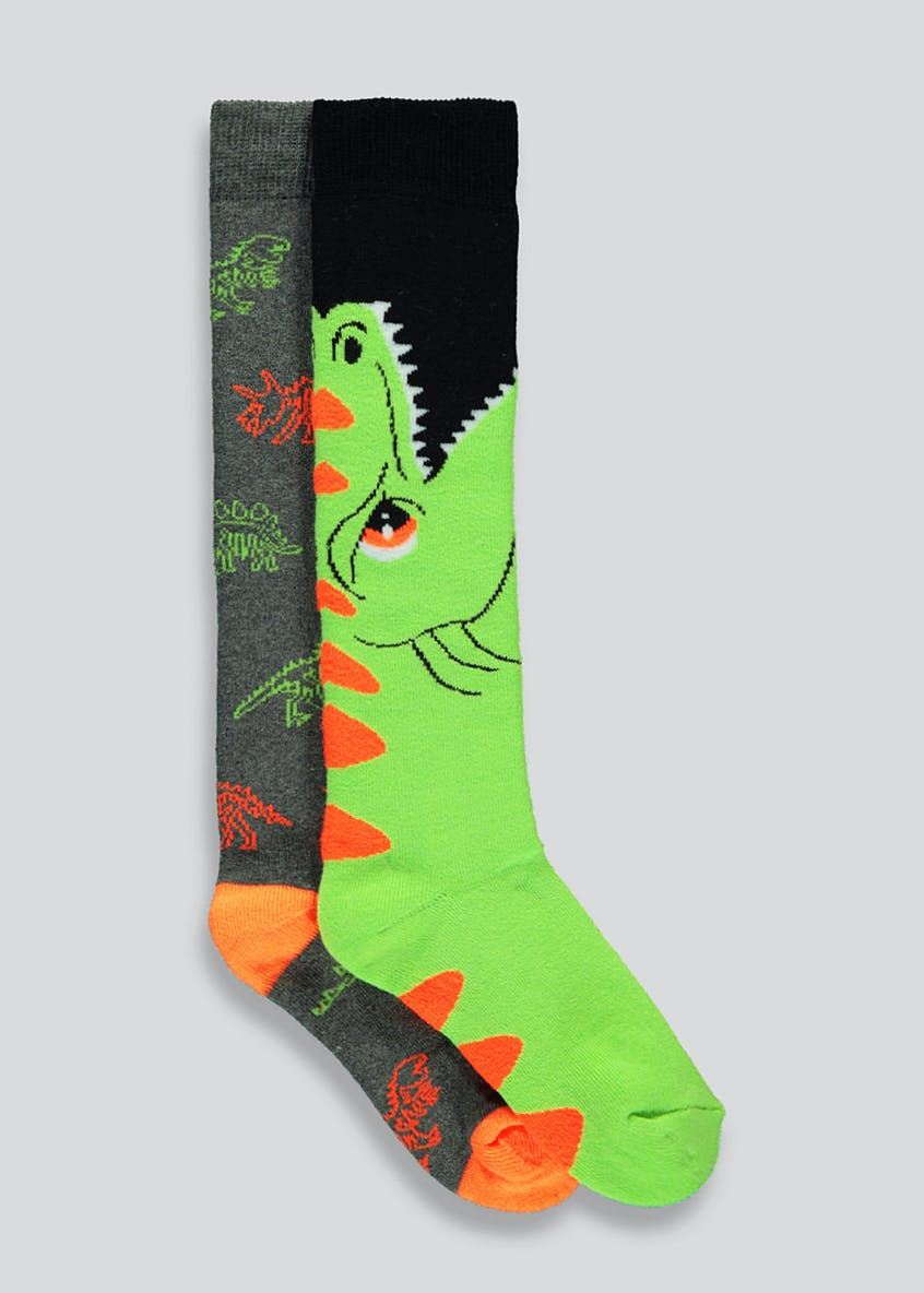Kids 2 Pack Dinosaur Socks (Younger Kids 6 Older Kids 6.5)