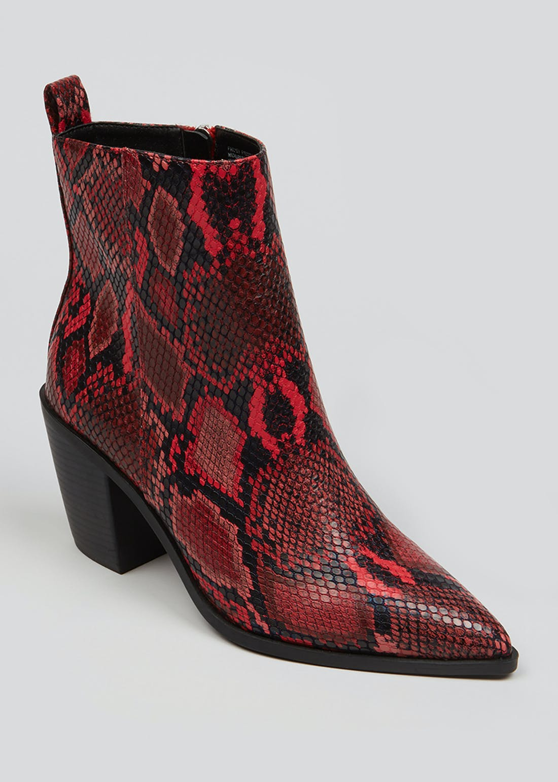 Red Snake Print Pointed Boots