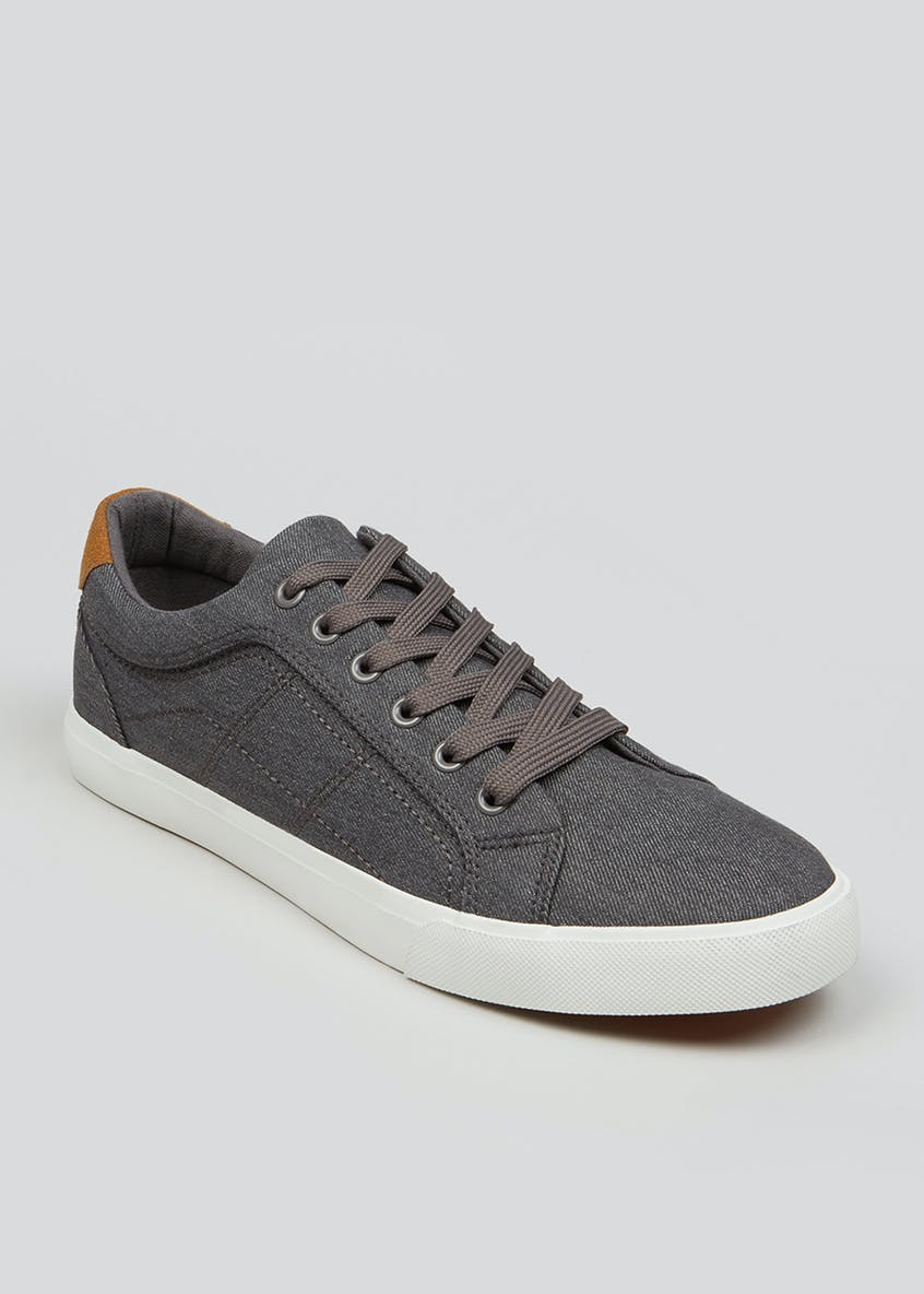 Grey Lace Up Fashion Trainers