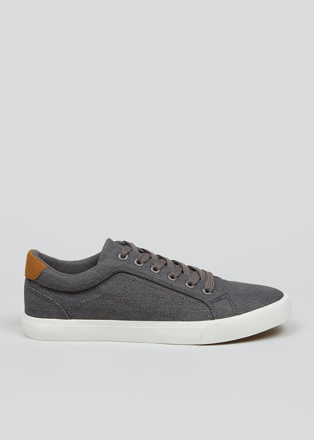 Grey Lace Up Canvas Trainers