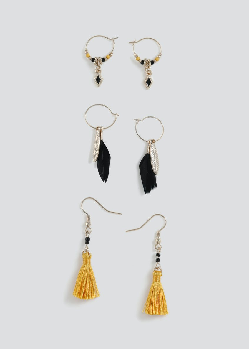 3 Pack Feather Mix Earrings