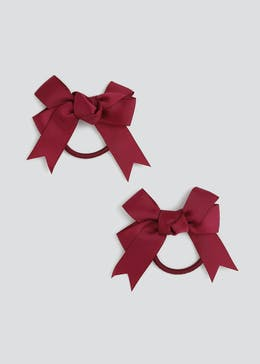 Girls Back to School 2 Pack Navy Bow Ponio