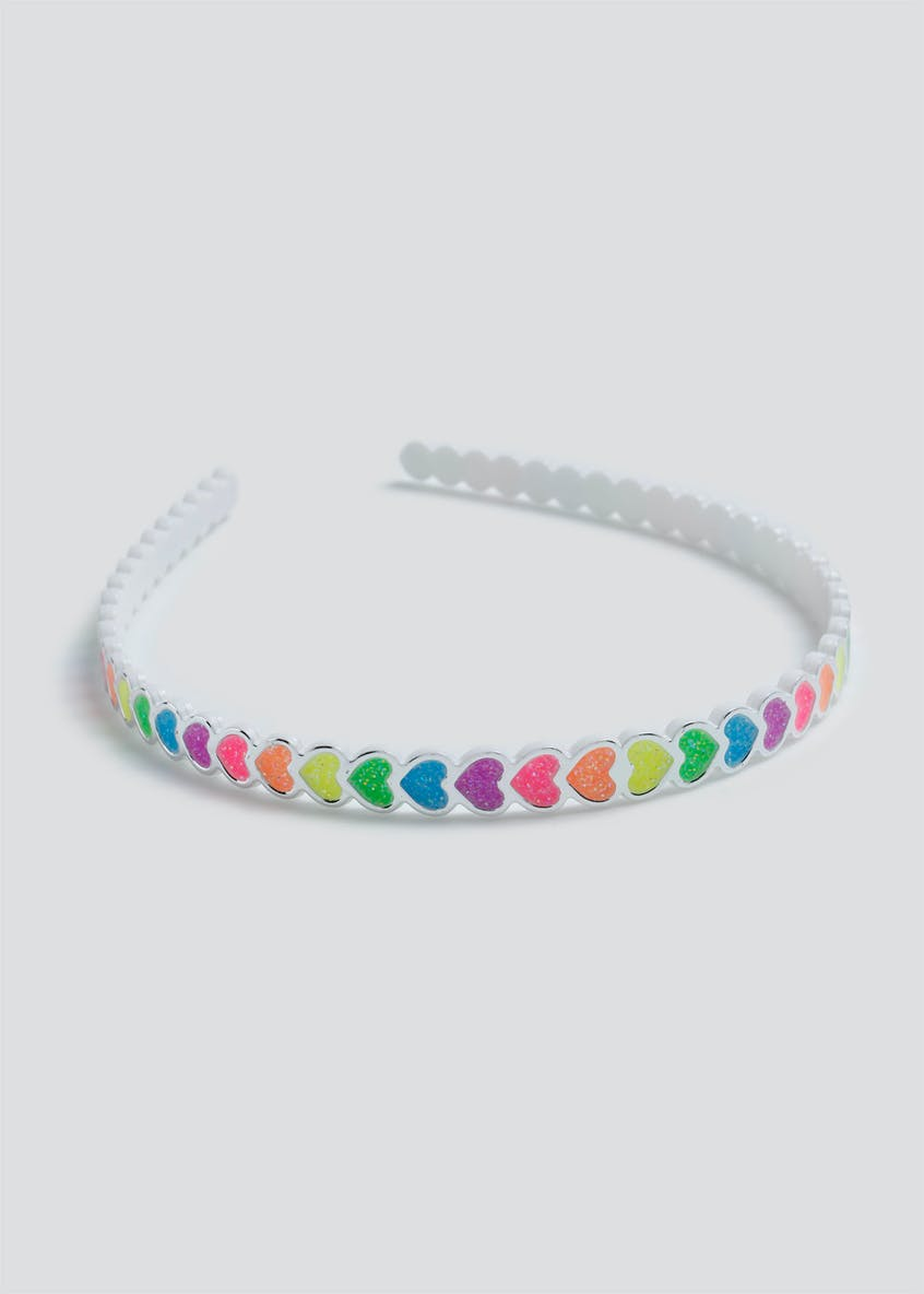 Girls Bright Multi Heart Aliceband