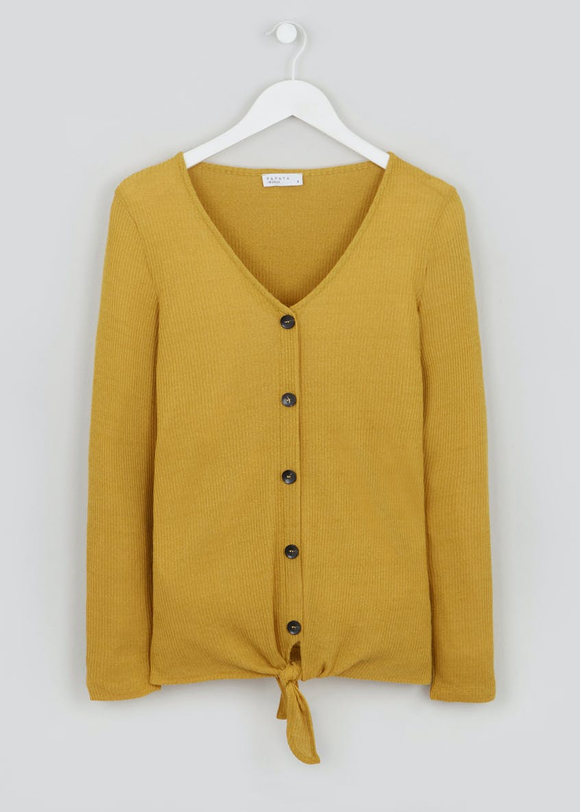 Long Sleeve Button Tie-Front Top
