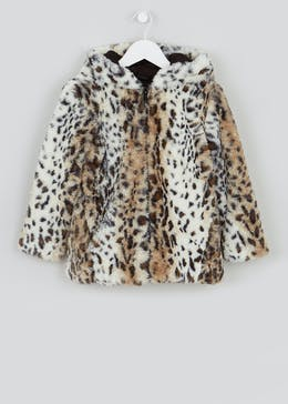 Girls Hooded Leopard Faux Fur Coat (4-13yrs)