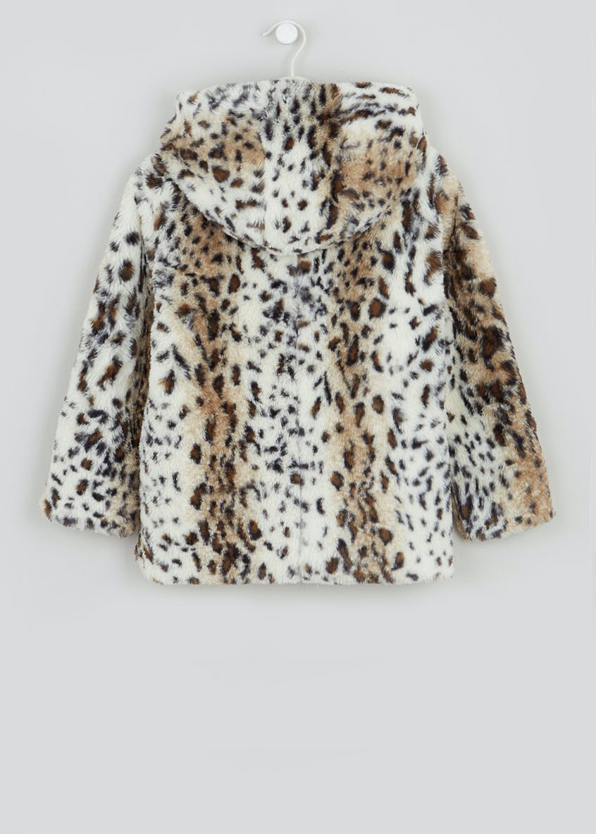 Girls Cream Hooded Leopard Faux Fur Coat (4-13yrs)