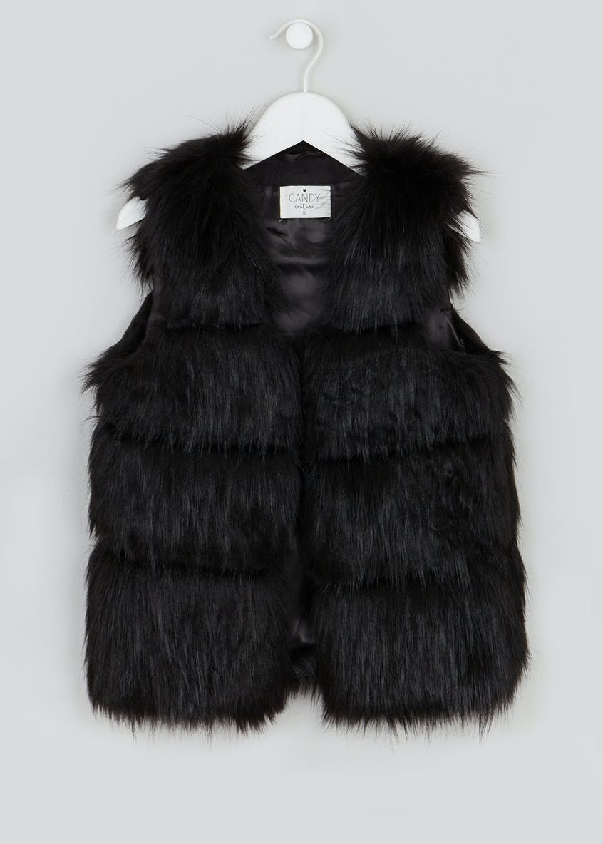 Girls Candy Couture Faux Fur Panelled Gilet (9-16yrs)