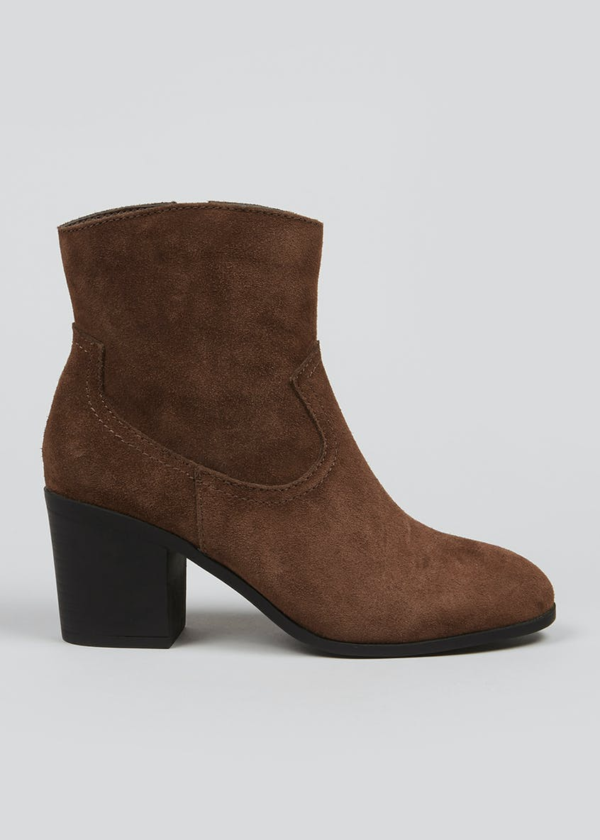 Soleflex Brown Real Suede Western Heeled Boots