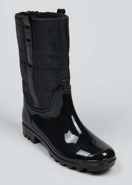 Black Quilted Wellies