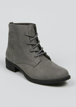 Grey Lace Up Faux Suede Boots