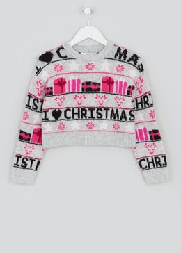 Girls Candy Couture Christmas Novelty Knit Jumper (9-16yrs)