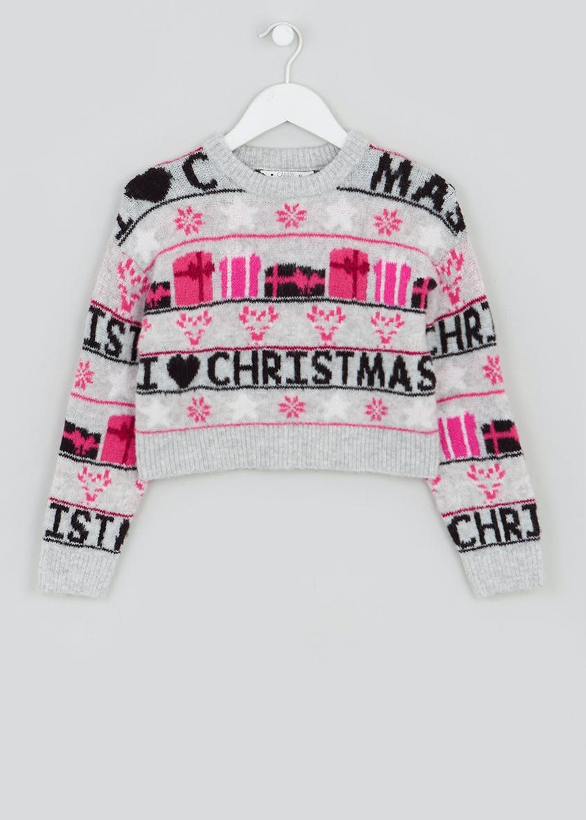 Girls Candy Couture Crop Christmas Jumper (9-16yrs)