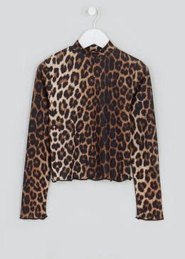 Girls Candy Couture Leopard Print High Neck Top (9-16yrs)