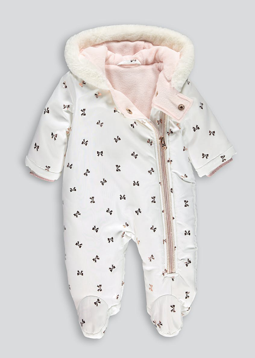 Girls Padded Bow Snowsuit (Tiny Baby-18mths)