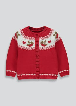Girls Christmas Robin Cardigan (9mths-6yrs)