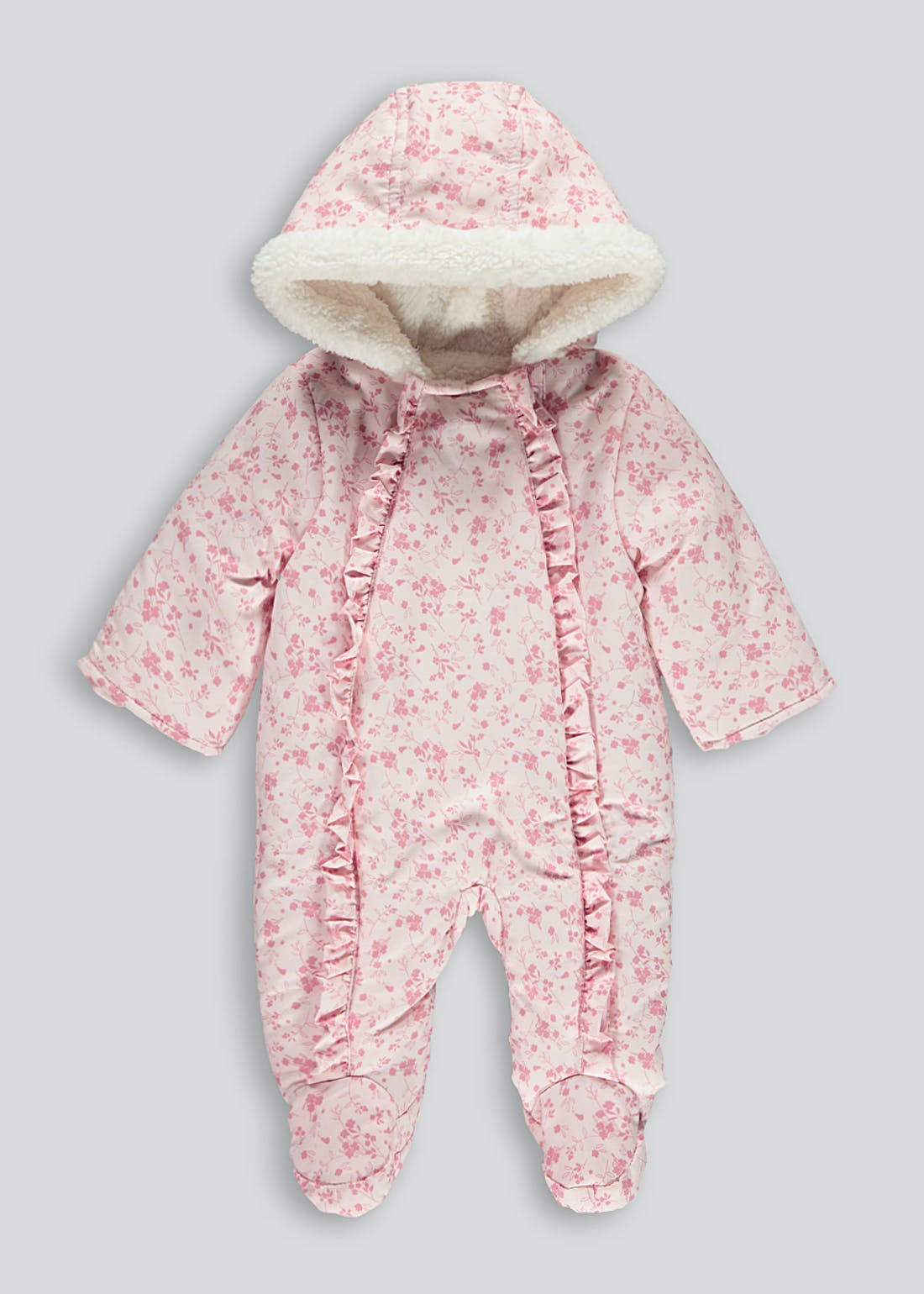 Girls Pink Floral Borg Snowsuit (Tiny Baby-18mths)