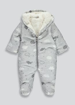 Unisex Grey Cloud Print Snowsuit (Tiny Baby-18mths)