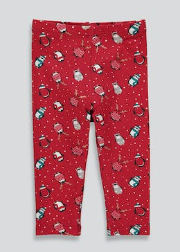 Girls Christmas Penguin Print Leggings (9mths - 6yrs)