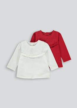 Girls 2 Pack Cotton Frill Tops (9mths-6yrs)
