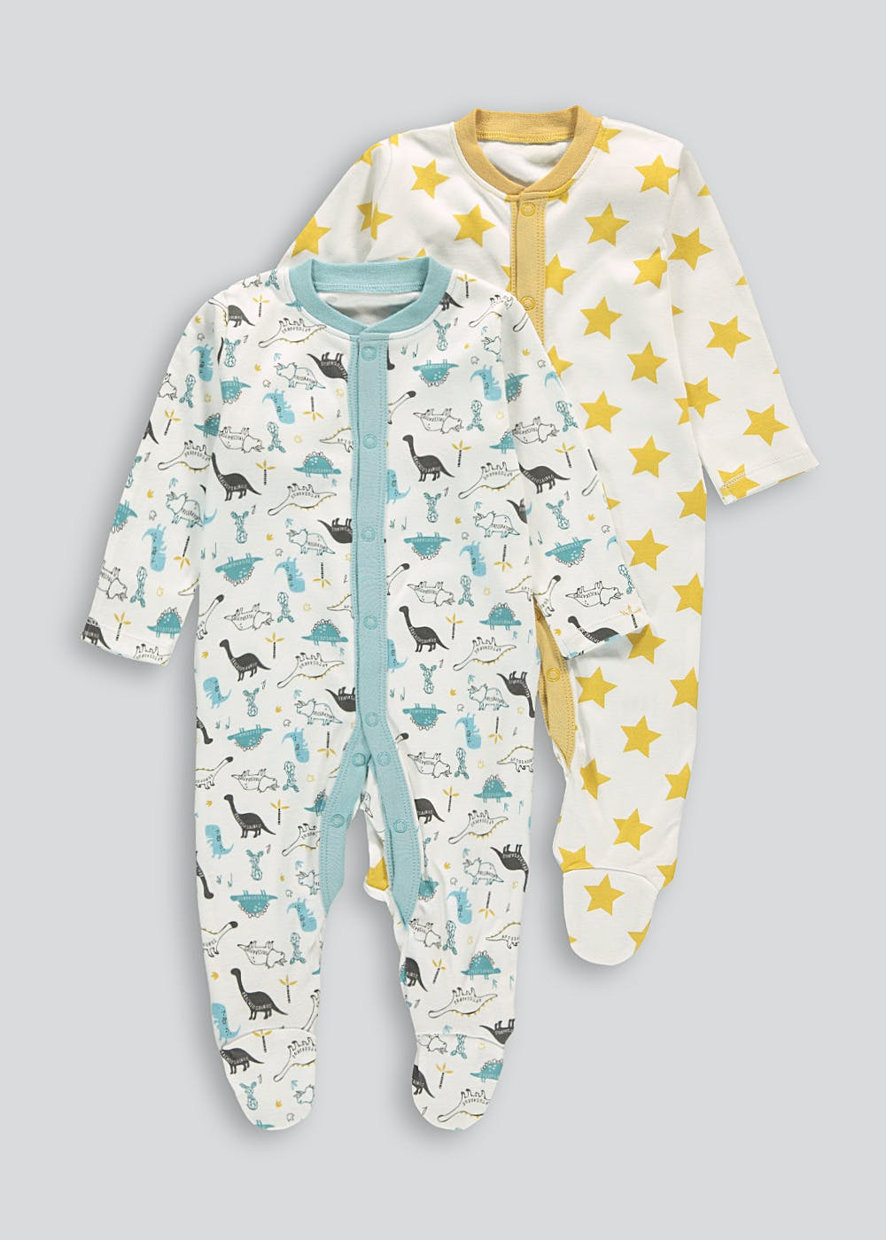 Unisex 2 Pack Dinosaur Star Baby Grows (Tiny Baby-18mths) – Multi