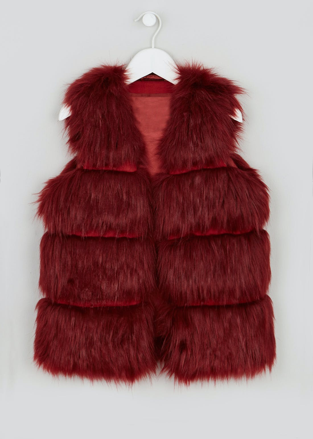 Girls Candy Couture Burgundy Faux Fur Gilet (9-16yrs)