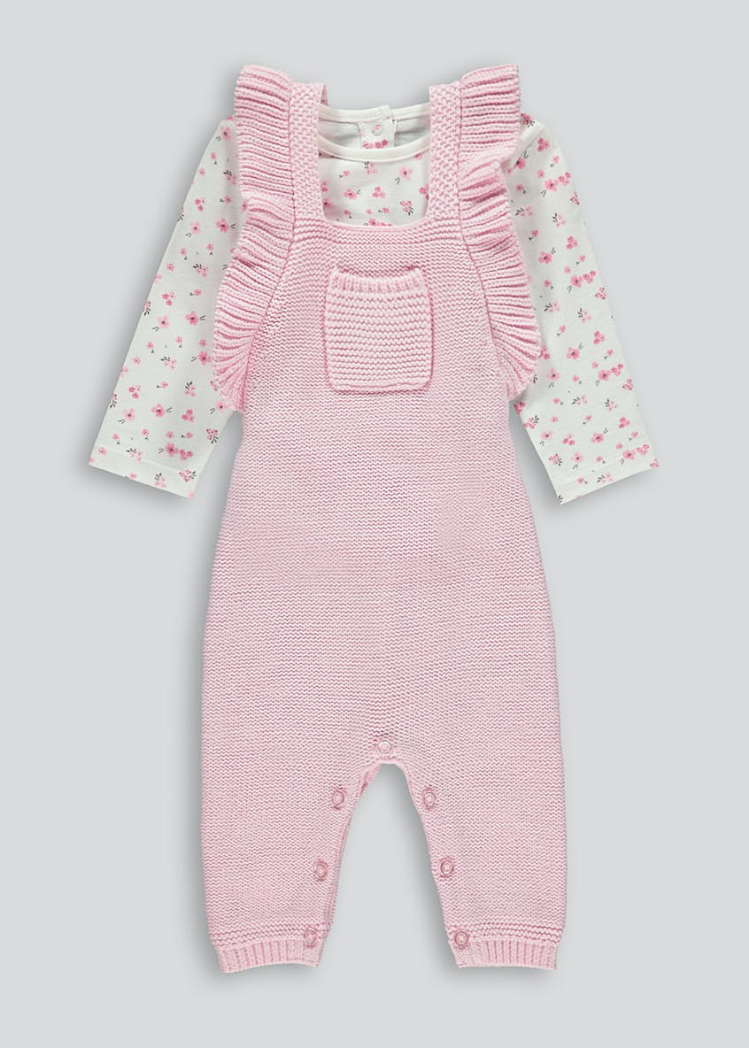 Girls Knitted Dungarees & Top Set (Tiny Baby-18mths)