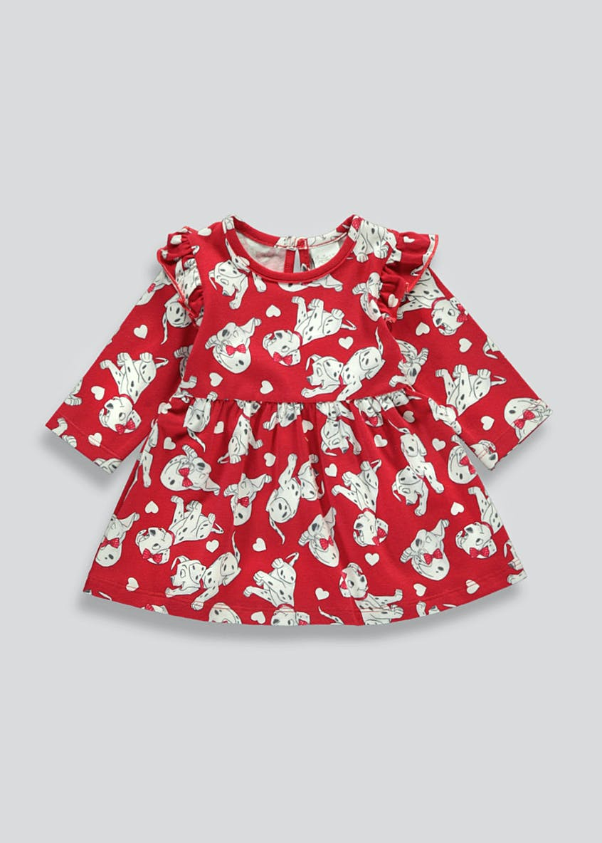 Girls Red Long Sleeve 101 Dalmatians Dress (Newborn-18mths)