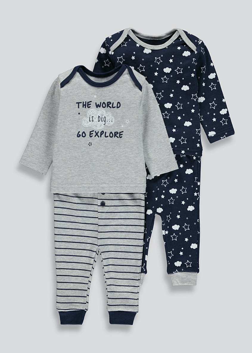 Unisex 2 Pack Pyjama Set (Tiny Baby-18mths)