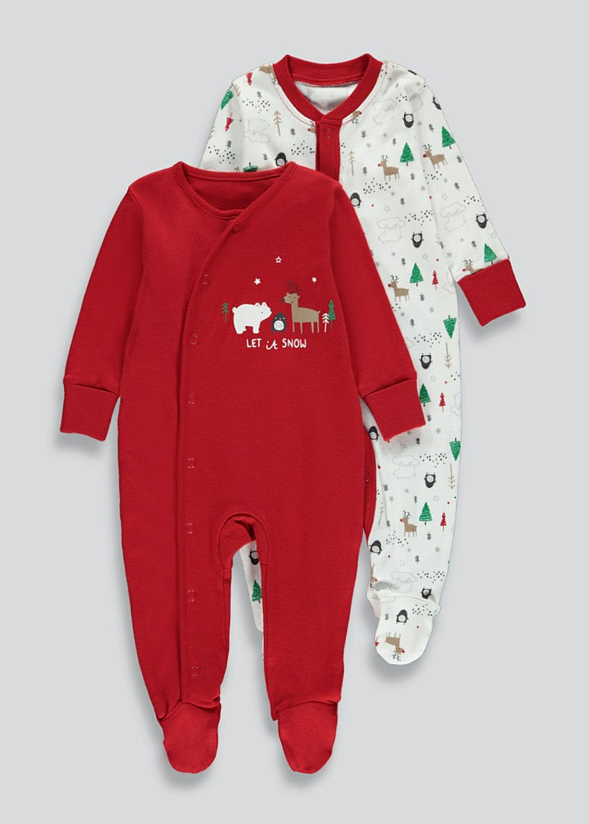 Unisex 2 Pack Christmas Baby Grows (Tiny Baby-18mths)