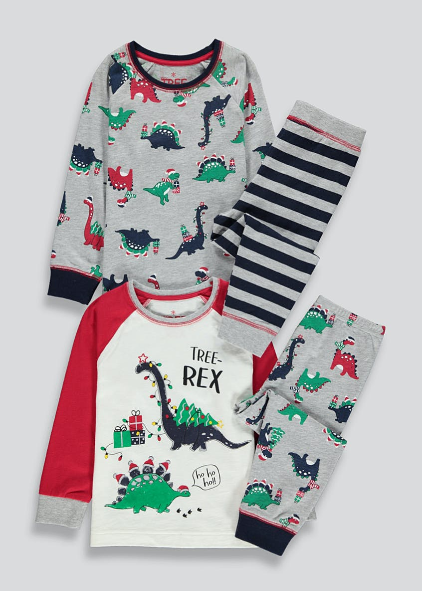 Kids 2 Pack Christmas Dinosaur Pyjamas (9mths-5yrs)