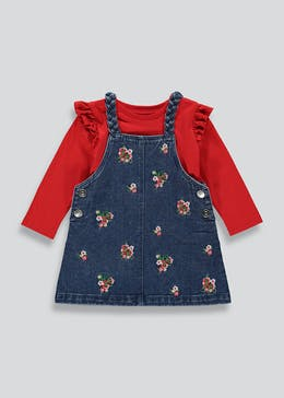 Girls Embroidered Denim Pinafore Dress & Top Set (9mths-6yrs)