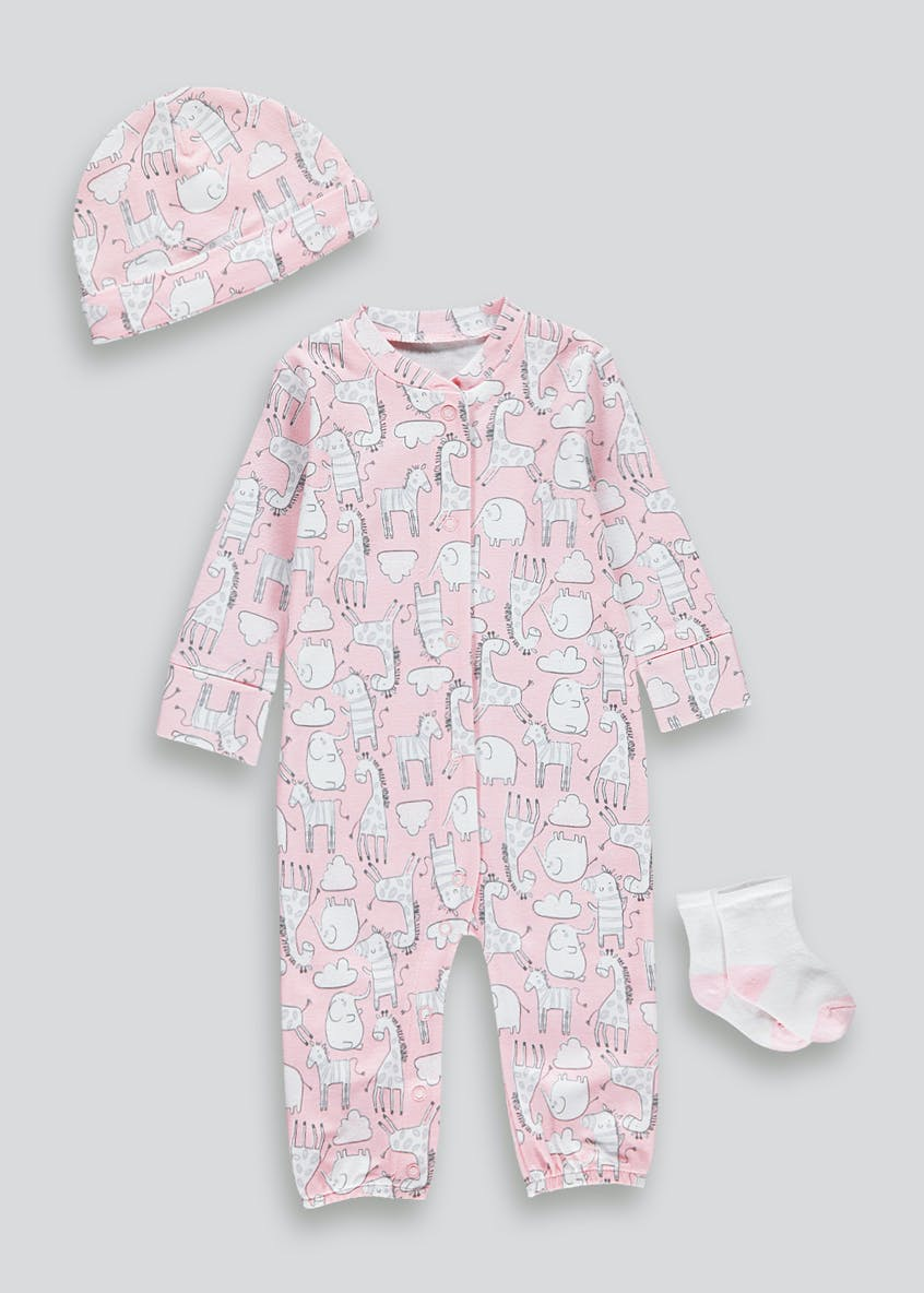 Unisex 3 Piece Baby Grow Set (Tiny Baby-18mths)