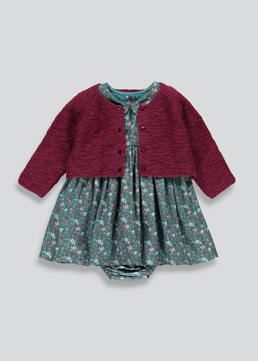 Girls Floral Dress and Cardigan Set (Newborn-18mths)