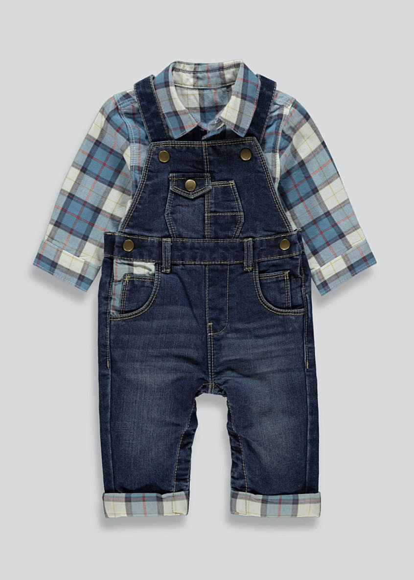Unisex Dungarees and Shirt Set (Tiny Baby-18mths)