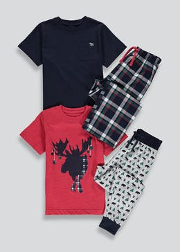 Kids 2 Pack Moose Pyjamas (4-13yrs)