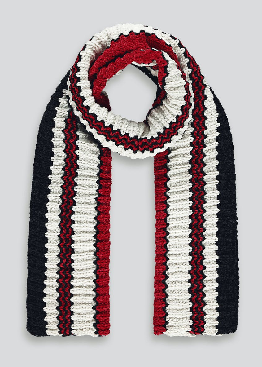 Striped Ribbed Chenille Scarf