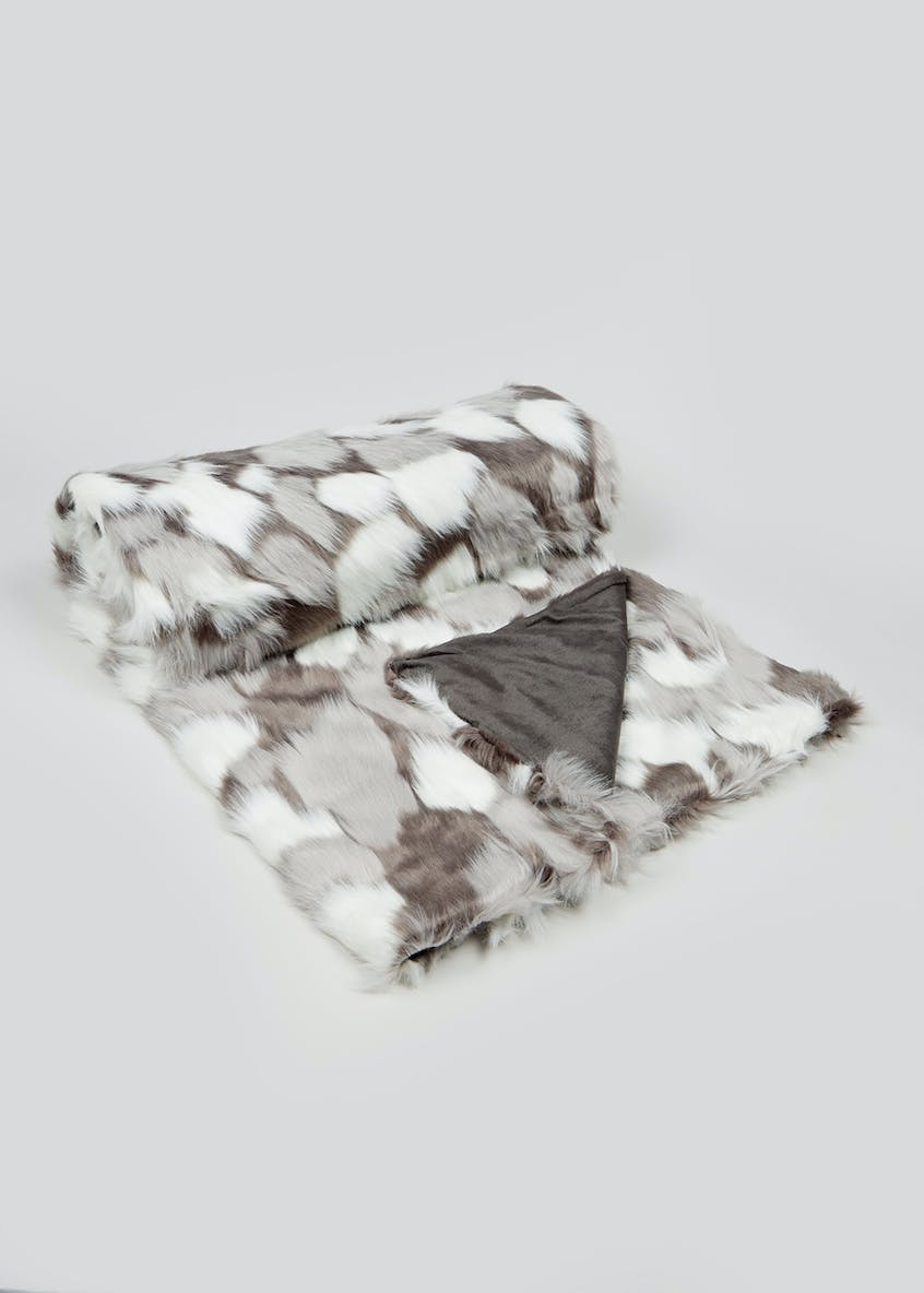 Abstract Faux Fur Throw Blanket (150cm x130cm)