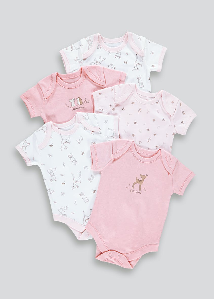 Girls 5 Pack Woodland Print Bodysuits (Tiny Baby-23mths)
