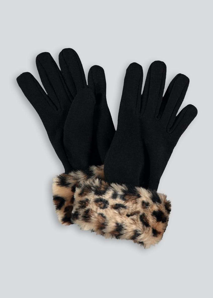 Leopard Faux Fur Cuff Gloves
