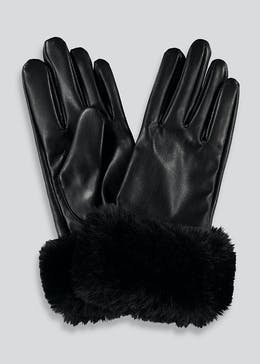 Faux Fur Cuff Leather Gloves