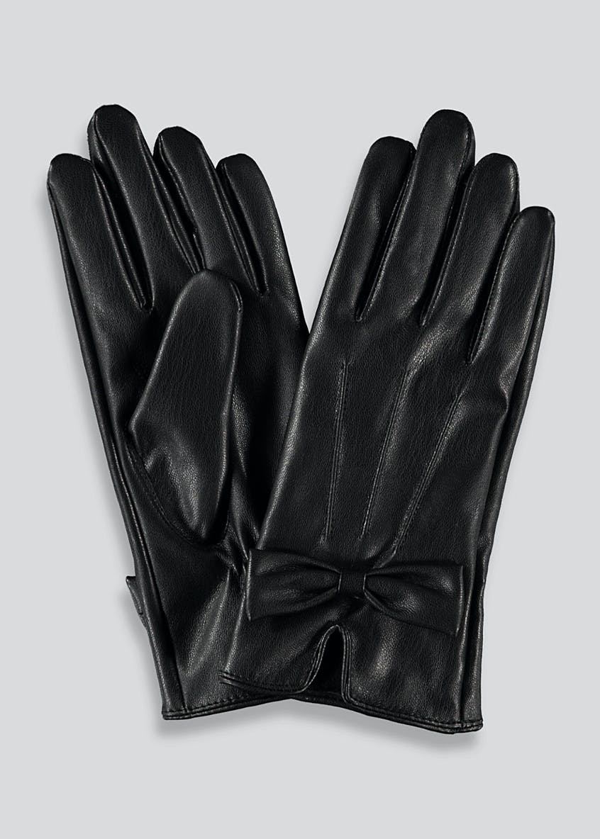 Leather Look Bow Gloves