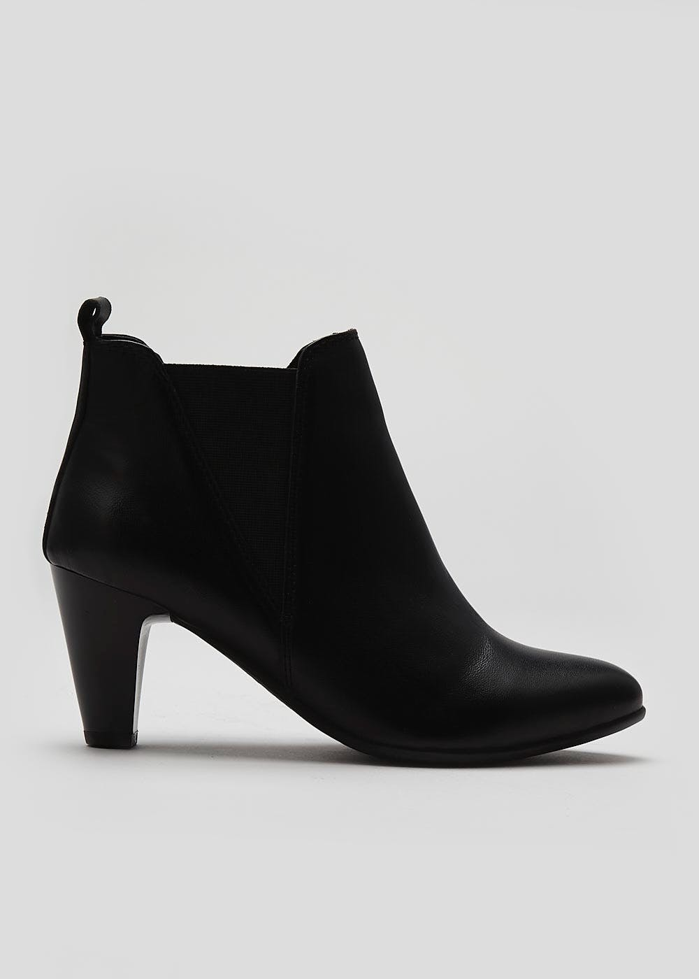 Soleflex Black Real Leather Ankle Boots