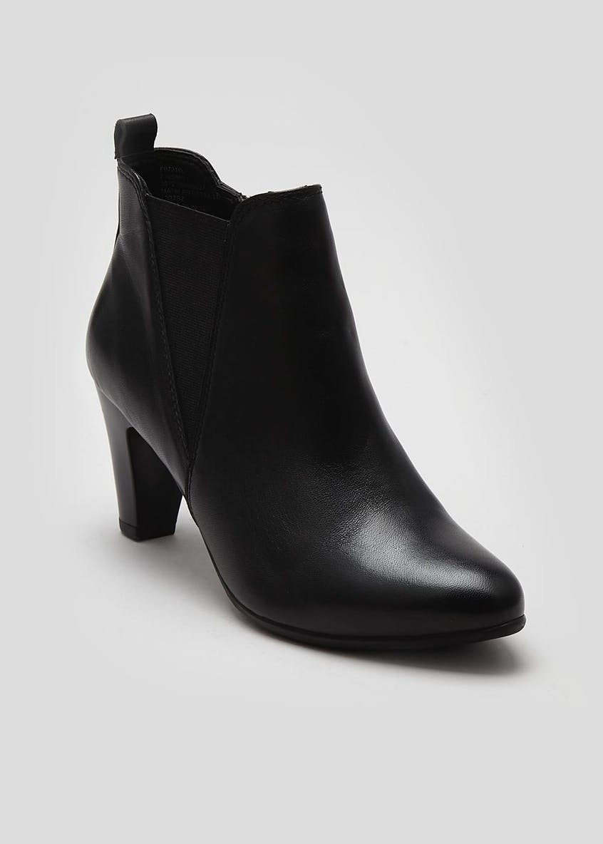 Soleflex Real Leather Almond Toe Heeled Boots
