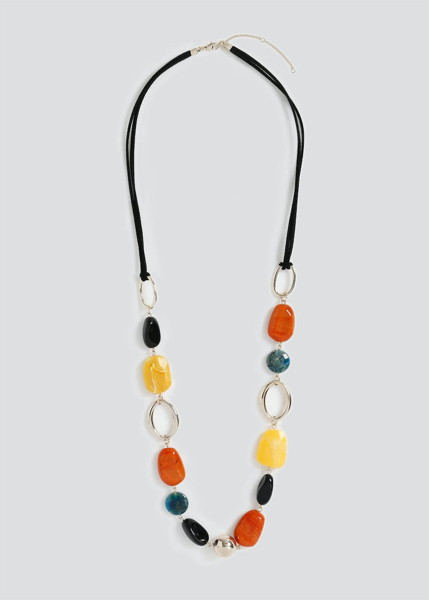 Pebble Beaded Long Necklace