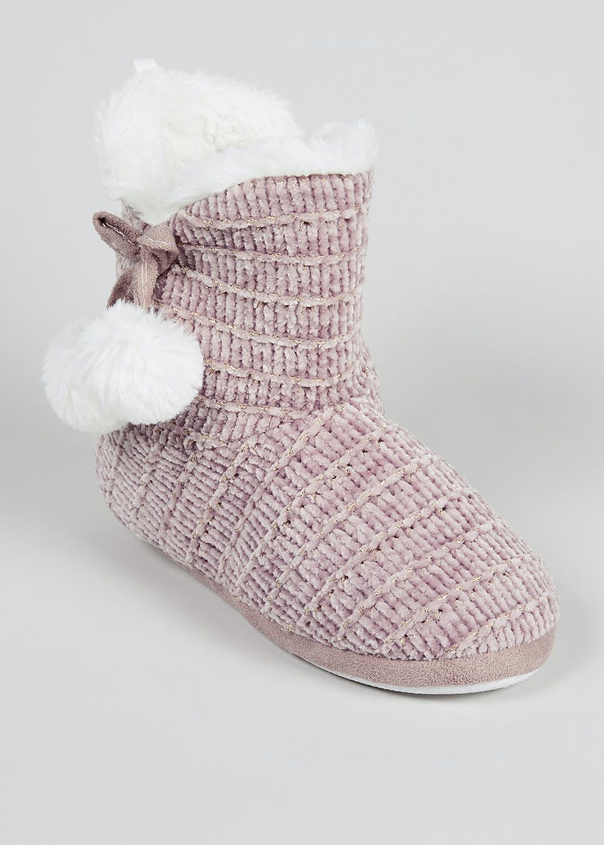Knitted Pom Pom Boot Slippers