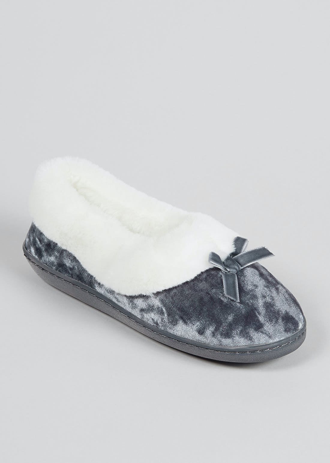 Classic Bow Faux Fur Full Slippers