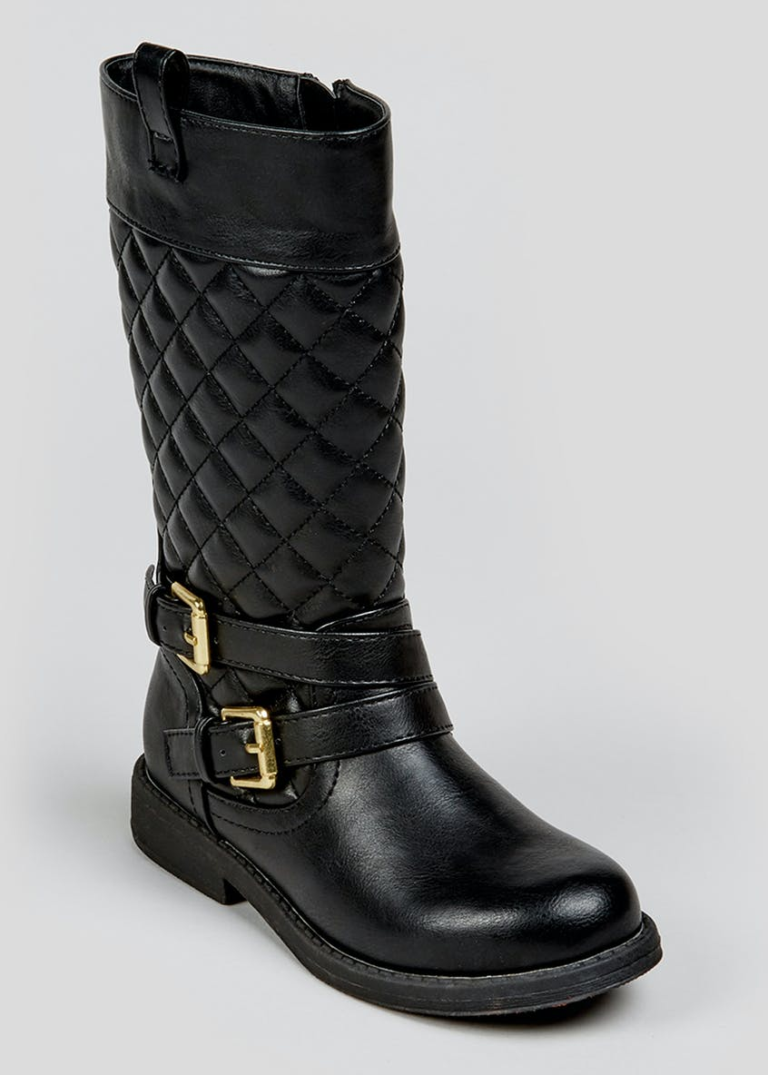 Girls Quilted Buckle Knee Boots (Younger 10-Older 5)