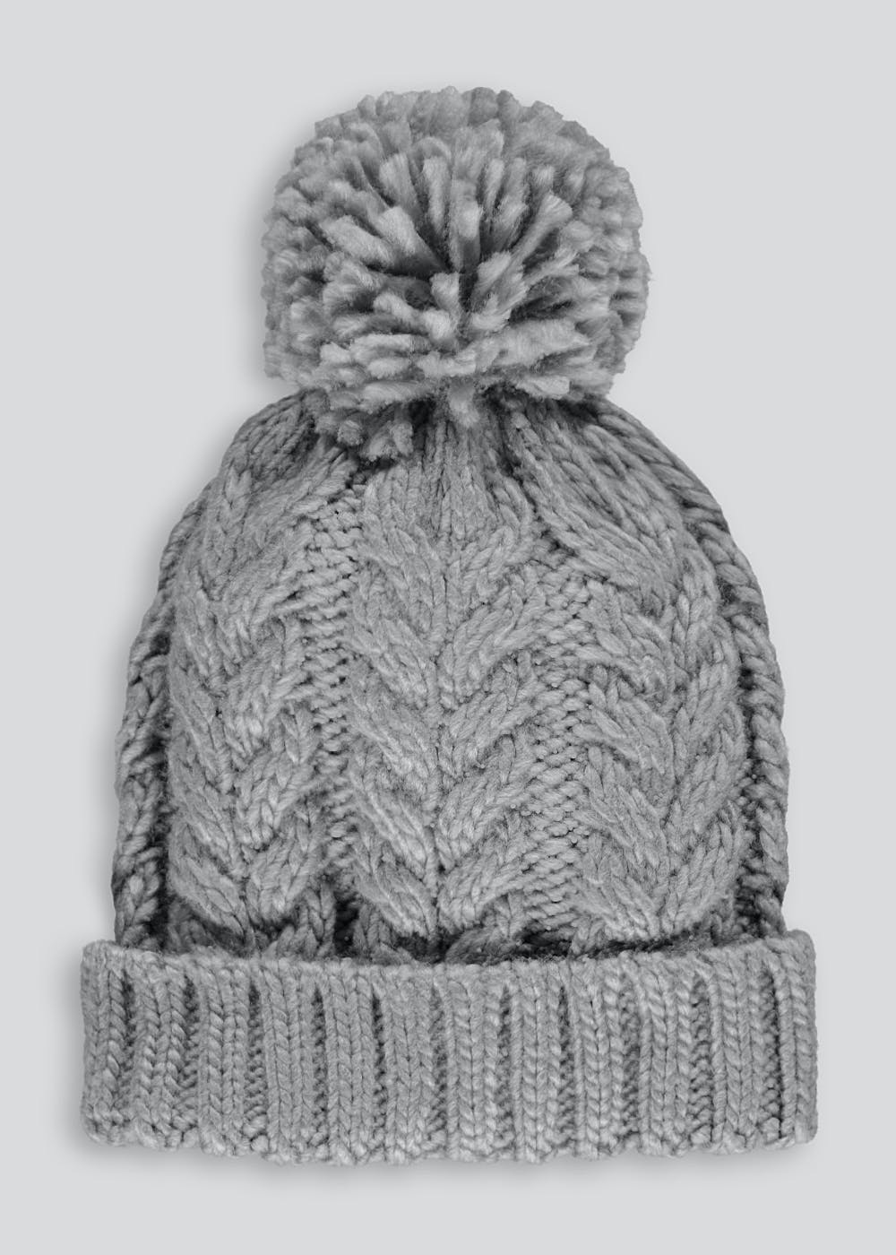 Kids Cable Knit Beanie (7-13yrs) – Grey