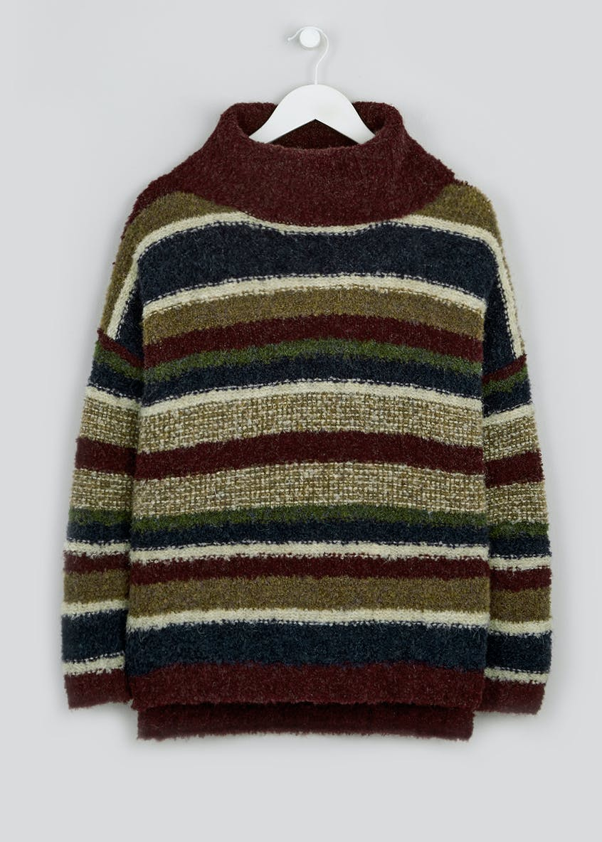 Stripe Boucle Cowl Neck Jumper